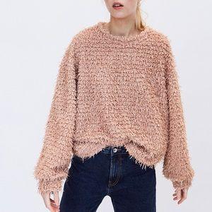 Zara   fringe shreds faux fur sweater